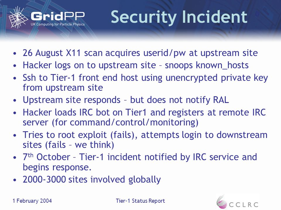 1 February 2004Tier-1 Status Report Security Incident 26 August X11 scan acquires userid/pw at upstream site Hacker logs on to upstream site – snoops known_hosts Ssh to Tier-1 front end host using unencrypted private key from upstream site Upstream site responds – but does not notify RAL Hacker loads IRC bot on Tier1 and registers at remote IRC server (for command/control/monitoring) Tries to root exploit (fails), attempts login to downstream sites (fails – we think) 7 th October – Tier-1 incident notified by IRC service and begins response.