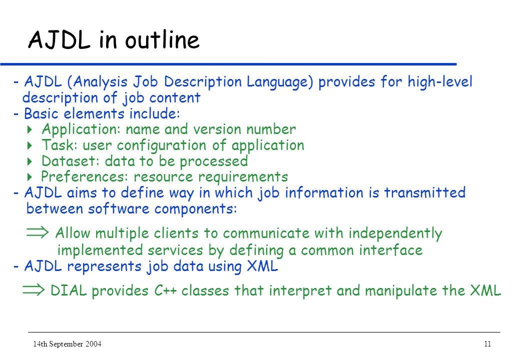 14th September 200411 AJDL in outline - AJDL (Analysis Job Description Language) provides for high-level description of job content - Basic elements i