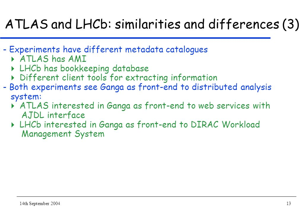 14th September 200413 ATLAS and LHCb: similarities and differences (3) - Experiments have different metadata catalogues ATLAS has AMI LHCb has bookkeeping database Different client tools for extracting information - Both experiments see Ganga as front-end to distributed analysis system: ATLAS interested in Ganga as front-end to web services with AJDL interface LHCb interested in Ganga as front-end to DIRAC Workload Management System