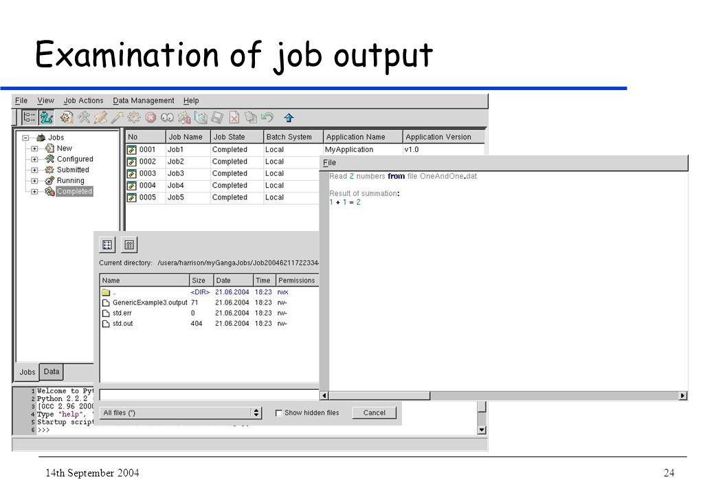 14th September 200424 Examination of job output