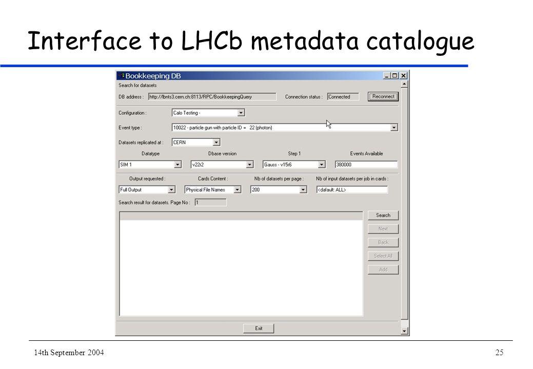 14th September 200425 Interface to LHCb metadata catalogue