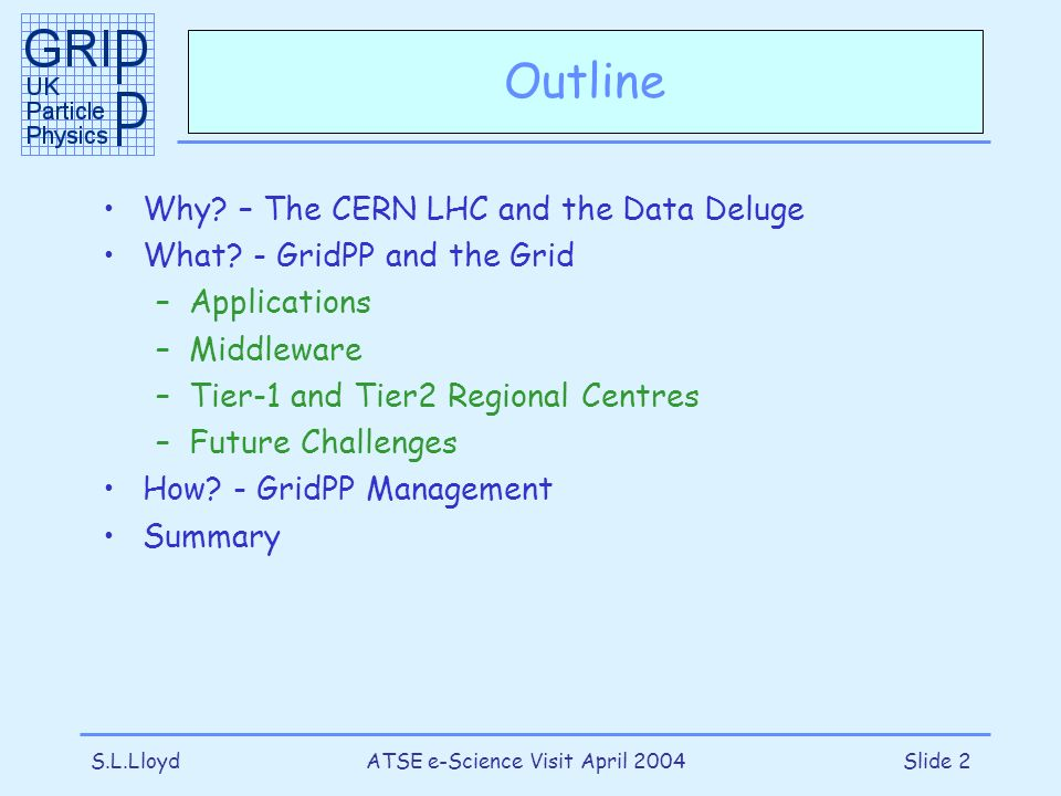 S.L.LloydATSE e-Science Visit April 2004Slide 2 Outline Why? – The CERN LHC and the Data Deluge What? - GridPP and the Grid –Applications –Middleware