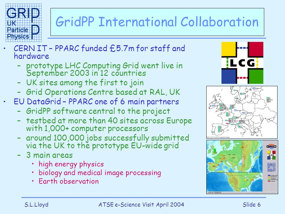 S.L.LloydATSE e-Science Visit April 2004Slide 6 GridPP International Collaboration CERN IT – PPARC funded £5.7m for staff and hardware –prototype LHC Computing Grid went live in September 2003 in 12 countries –UK sites among the first to join –Grid Operations Centre based at RAL, UK EU DataGrid – PPARC one of 6 main partners –GridPP software central to the project –testbed at more than 40 sites across Europe with 1,000+ computer processors –around 100,000 jobs successfully submitted via the UK to the prototype EU-wide grid –3 main areas high energy physics biology and medical image processing Earth observation