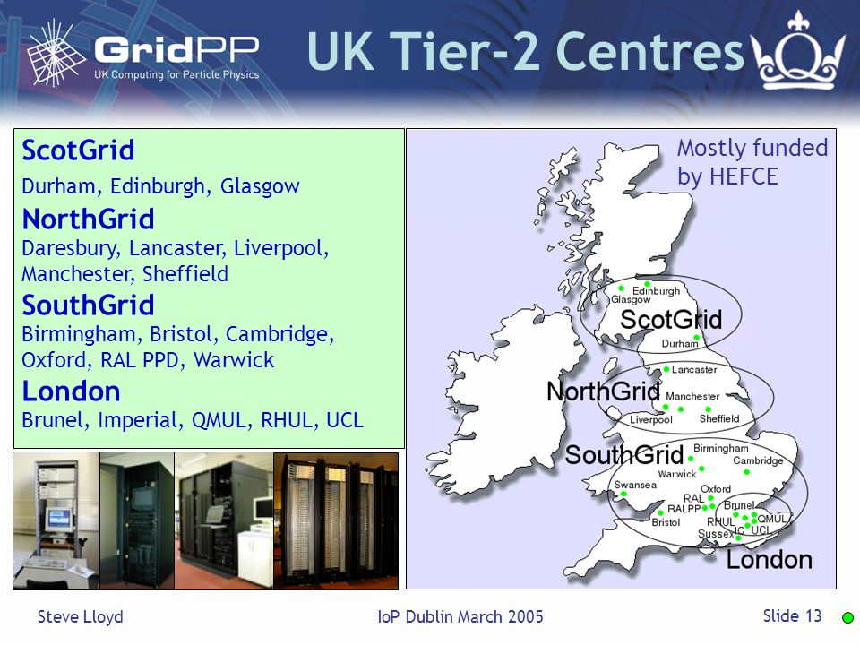 Steve LloydIoP Dublin March 2005 Slide 13 UK Tier-2 Centres ScotGrid Durham, Edinburgh, Glasgow NorthGrid Daresbury, Lancaster, Liverpool, Manchester, Sheffield SouthGrid Birmingham, Bristol, Cambridge, Oxford, RAL PPD, Warwick London Brunel, Imperial, QMUL, RHUL, UCL Mostly funded by HEFCE