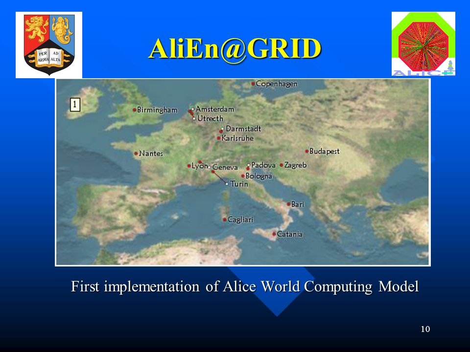 10 First implementation of Alice World Computing Model AliEn@GRID
