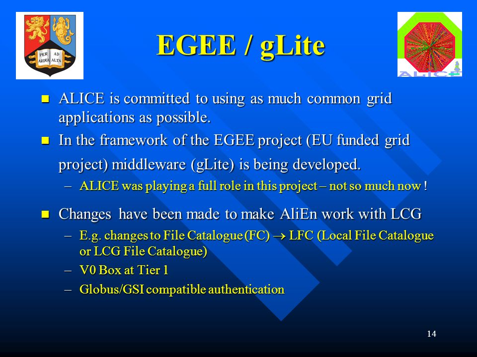 14 EGEE / gLite ALICE is committed to using as much common grid applications as possible.
