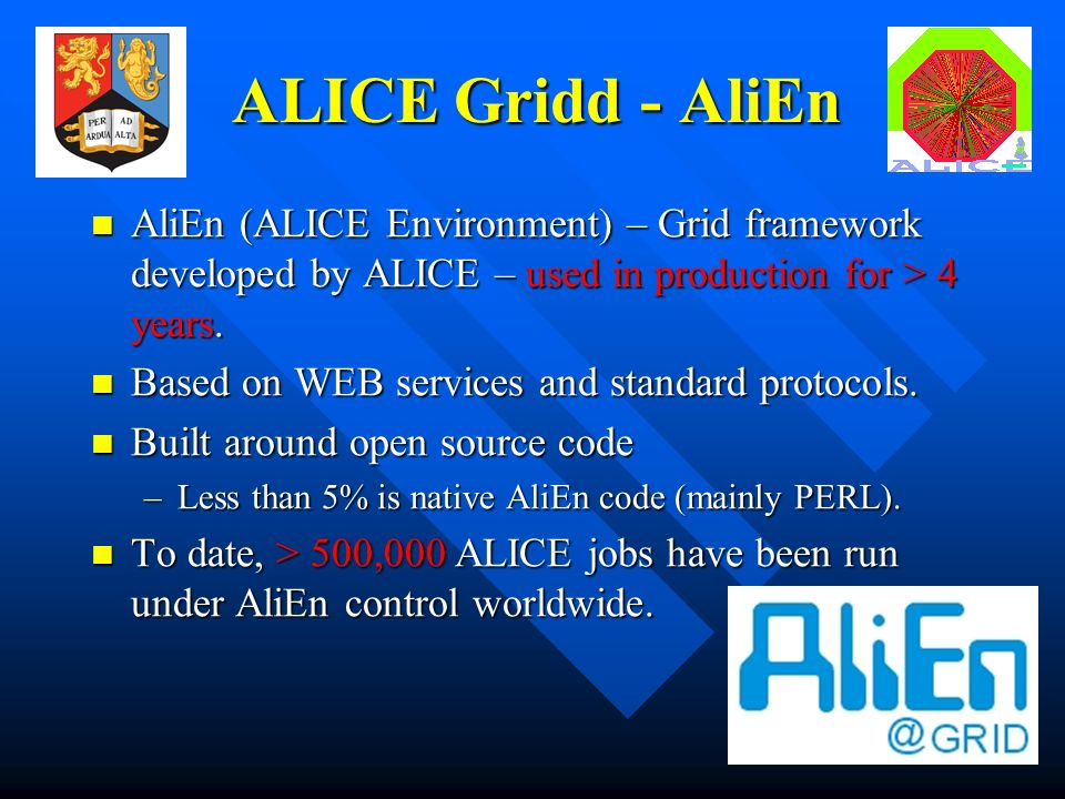 9 ALICE Gridd - AliEn AliEn (ALICE Environment) – Grid framework developed by ALICE – used in production for > 4 years.