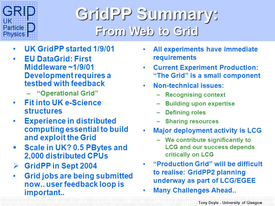Tony Doyle - University of Glasgow GridPP – Theory and Experiment UK GridPP started 1/9/01 EU DataGrid: First Middleware ~1/9/01 Development requires a testbed with feedback –Operational Grid Fit into UK e-Science structures Experience in distributed computing essential to build and exploit the Grid Scale in UK.