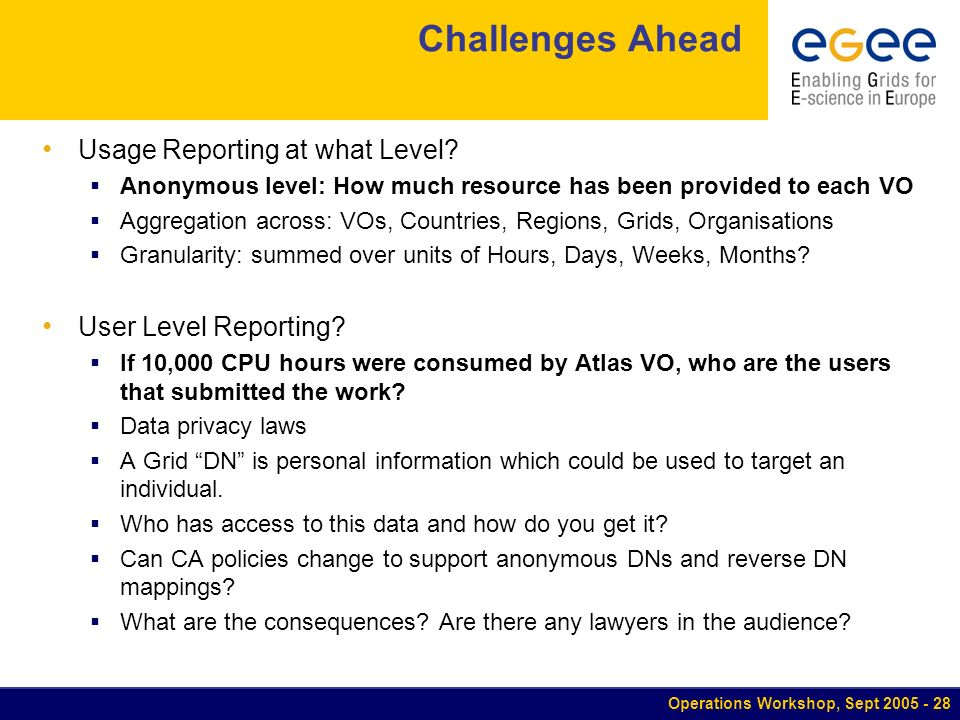 Operations Workshop, Sept Challenges Ahead Usage Reporting at what Level.