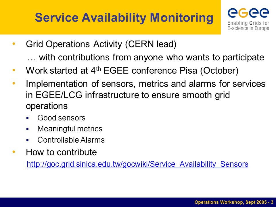 Operations Workshop, Sept 2005 - 4 Contributions to Sensors Substantial Metrics document in circulation which defines 50+ metrics Home Page not yet available.