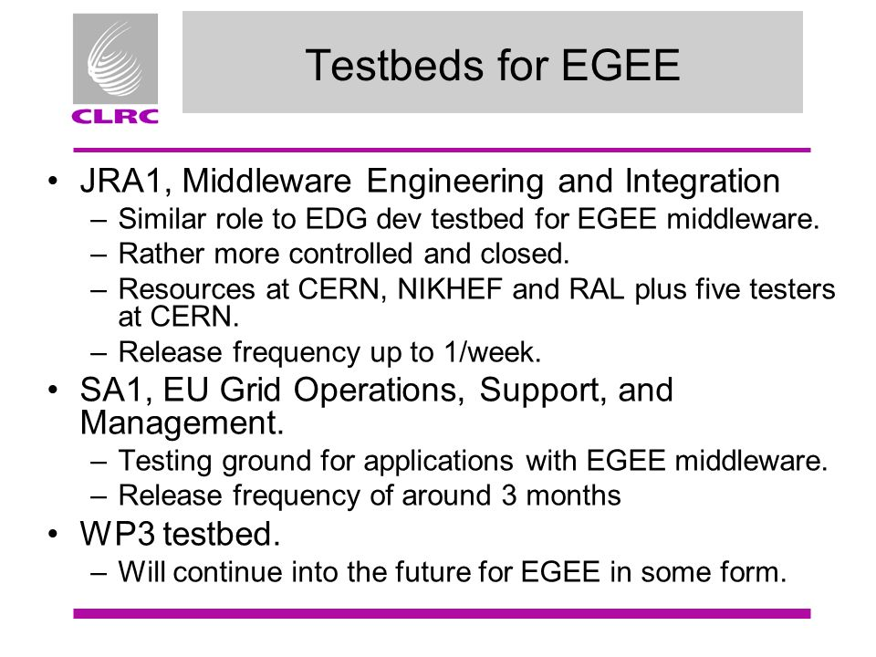 Testbeds for EGEE JRA1, Middleware Engineering and Integration –Similar role to EDG dev testbed for EGEE middleware.