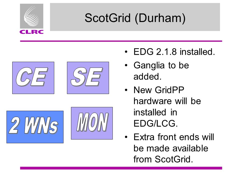 ScotGrid (Durham) EDG 2.1.8 installed. Ganglia to be added.