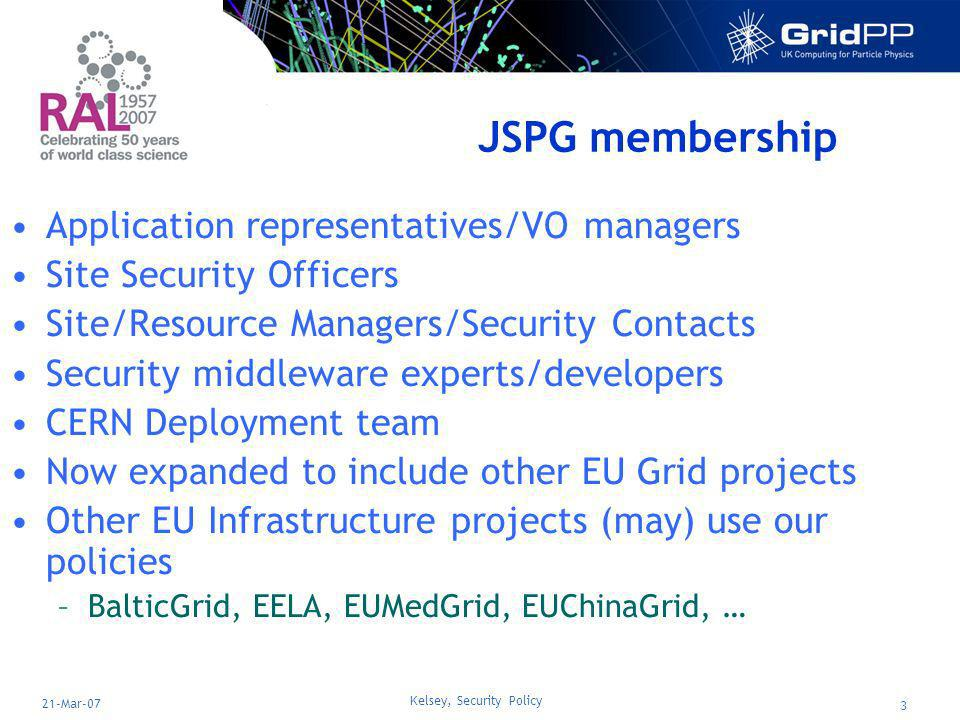 Kelsey, Security Policy 3 21-Mar-07 JSPG membership Application representatives/VO managers Site Security Officers Site/Resource Managers/Security Contacts Security middleware experts/developers CERN Deployment team Now expanded to include other EU Grid projects Other EU Infrastructure projects (may) use our policies –BalticGrid, EELA, EUMedGrid, EUChinaGrid, …