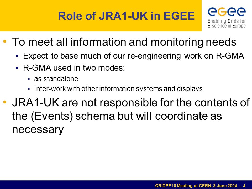 GRIDPP10 Meeting at CERN, 3 June 2004 - 4 Role of JRA1-UK in EGEE To meet all information and monitoring needs Expect to base much of our re-engineering work on R-GMA R-GMA used in two modes: as standalone Inter-work with other information systems and displays JRA1-UK are not responsible for the contents of the (Events) schema but will coordinate as necessary