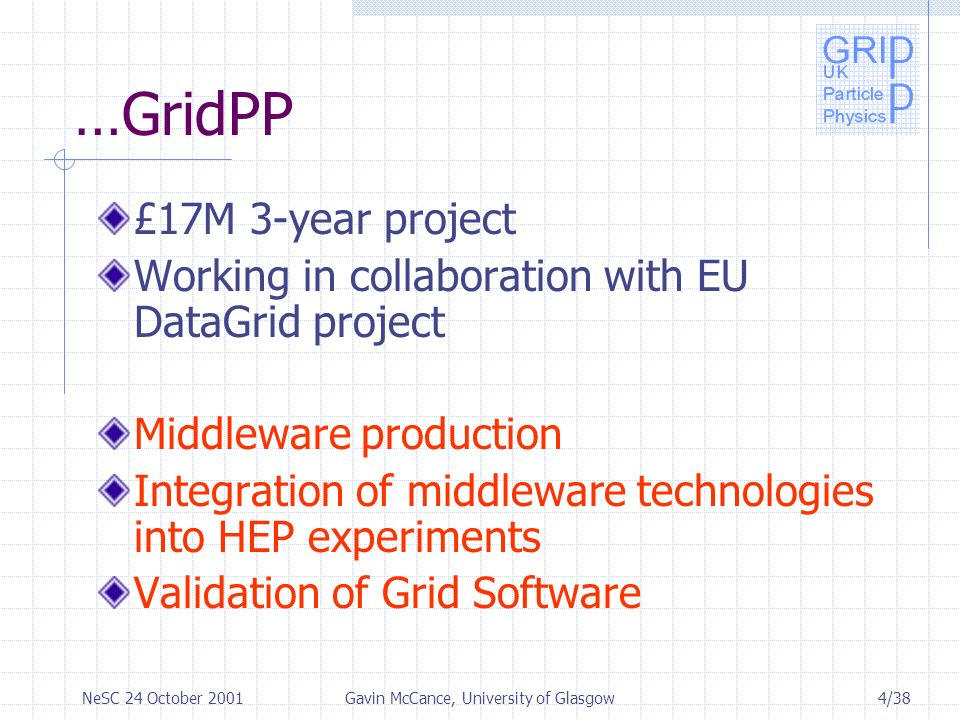 4/38NeSC 24 October 2001Gavin McCance, University of Glasgow …GridPP £17M 3-year project Working in collaboration with EU DataGrid project Middleware production Integration of middleware technologies into HEP experiments Validation of Grid Software