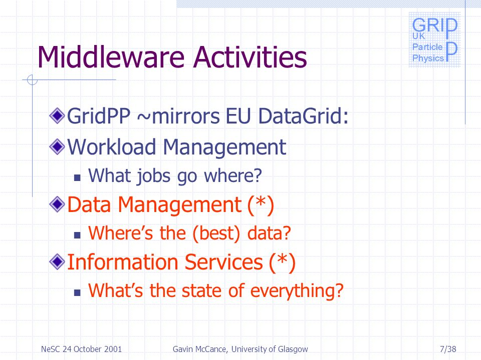 8/38NeSC 24 October 2001Gavin McCance, University of Glasgow …Middleware Activities Fabric Management Interfaces to underlying systems Mass Storage Management How to get the data to/from the fabric e.g.
