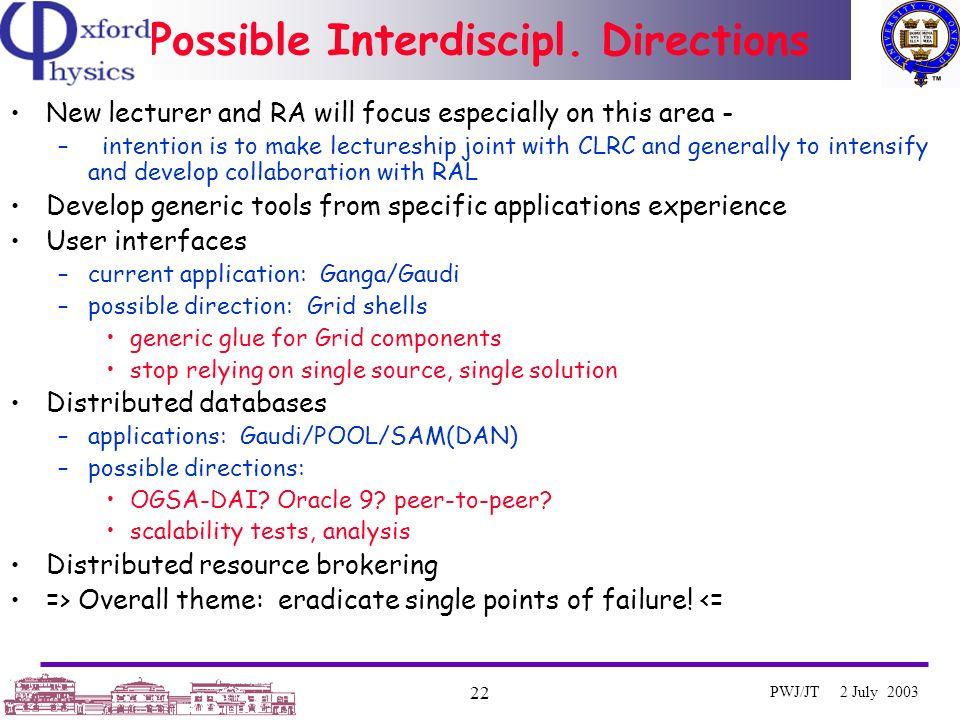 Oxford University e-Science Centre 22 PWJ/JT 2 July 2003 Possible Interdiscipl.