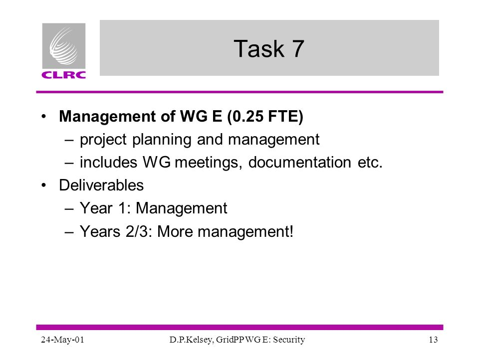 24-May-01D.P.Kelsey, GridPP WG E: Security13 Task 7 Management of WG E (0.25 FTE) –project planning and management –includes WG meetings, documentatio
