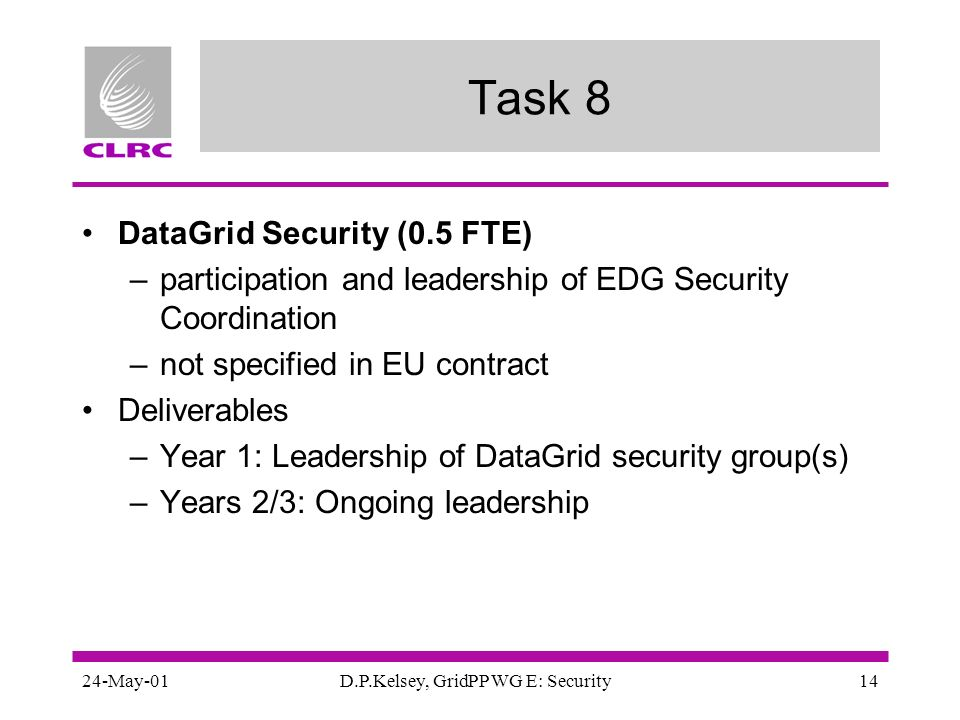 24-May-01D.P.Kelsey, GridPP WG E: Security14 Task 8 DataGrid Security (0.5 FTE) –participation and leadership of EDG Security Coordination –not specif