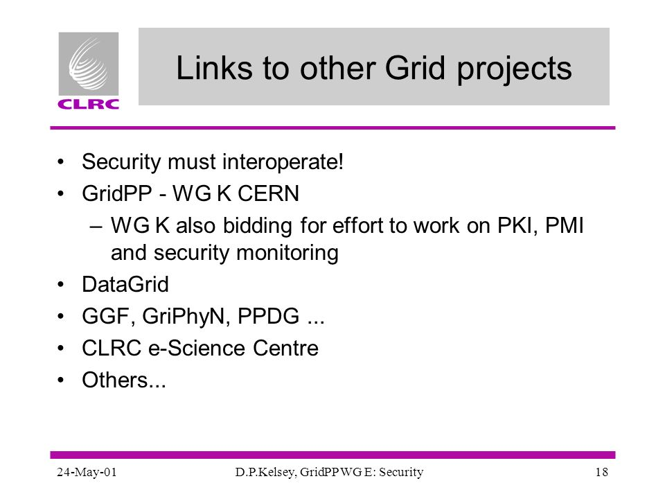 24-May-01D.P.Kelsey, GridPP WG E: Security18 Links to other Grid projects Security must interoperate! GridPP - WG K CERN –WG K also bidding for effort