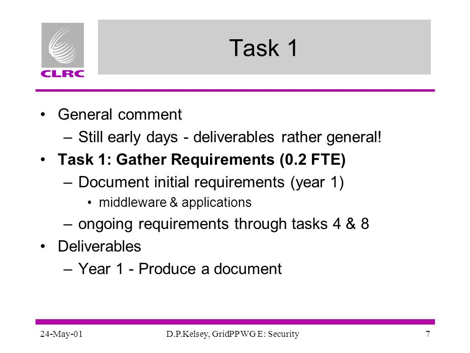 24-May-01D.P.Kelsey, GridPP WG E: Security7 Task 1 General comment –Still early days - deliverables rather general! Task 1: Gather Requirements (0.2 F
