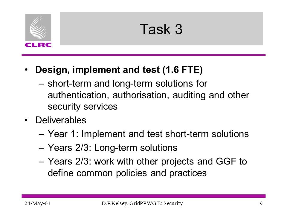 24-May-01D.P.Kelsey, GridPP WG E: Security9 Task 3 Design, implement and test (1.6 FTE) –short-term and long-term solutions for authentication, author