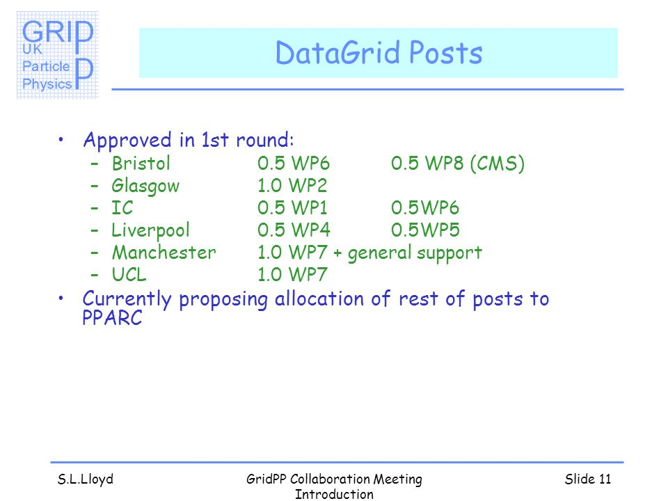 S.L.LloydGridPP Collaboration Meeting Introduction Slide 11 DataGrid Posts Approved in 1st round: –Bristol0.5 WP60.5 WP8 (CMS) –Glasgow1.0 WP2 –IC0.5 WP10.5WP6 –Liverpool0.5 WP40.5WP5 –Manchester1.0 WP7 + general support –UCL1.0 WP7 Currently proposing allocation of rest of posts to PPARC