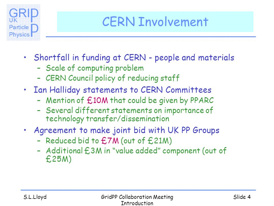 S.L.LloydGridPP Collaboration Meeting Introduction Slide 4 CERN Involvement Shortfall in funding at CERN - people and materials –Scale of computing problem –CERN Council policy of reducing staff Ian Halliday statements to CERN Committees –Mention of £10M that could be given by PPARC –Several different statements on importance of technology transfer/dissemination Agreement to make joint bid with UK PP Groups –Reduced bid to £7M (out of £21M) –Additional £3M in value added component (out of £25M)