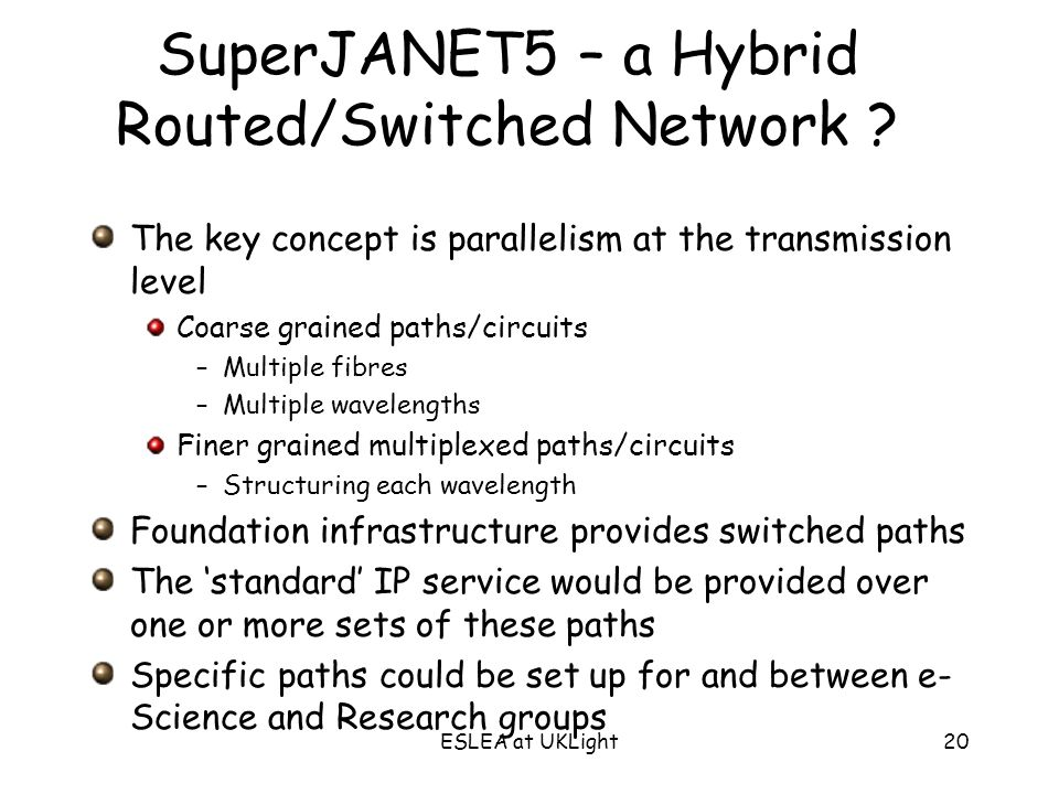 ESLEA at UKLight20 SuperJANET5 – a Hybrid Routed/Switched Network .