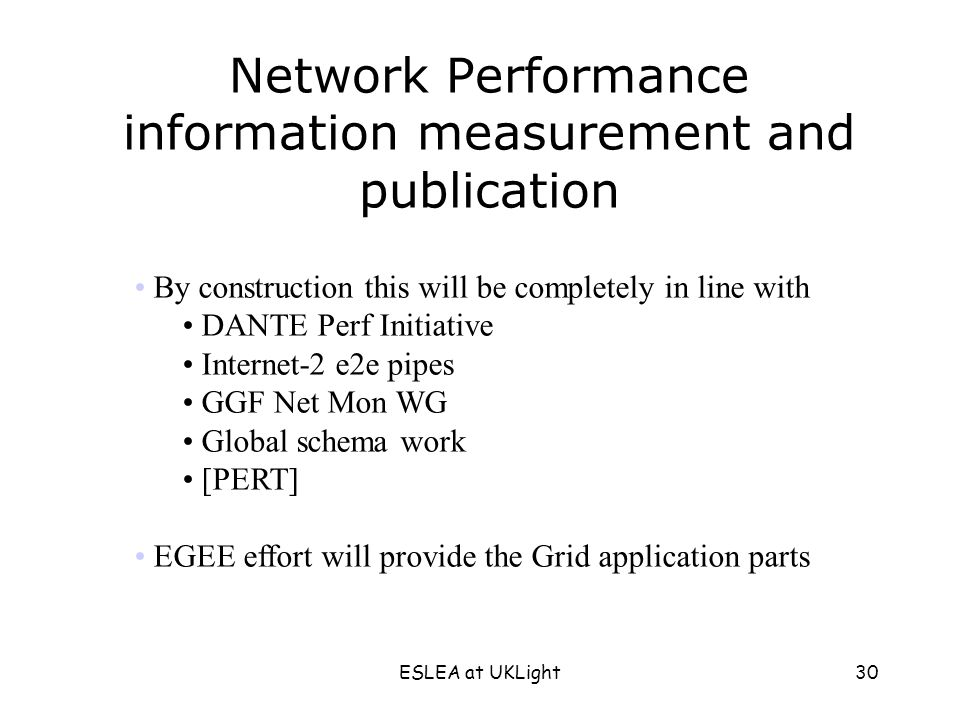 ESLEA at UKLight30 Network Performance information measurement and publication By construction this will be completely in line with DANTE Perf Initiative Internet-2 e2e pipes GGF Net Mon WG Global schema work [PERT] EGEE effort will provide the Grid application parts