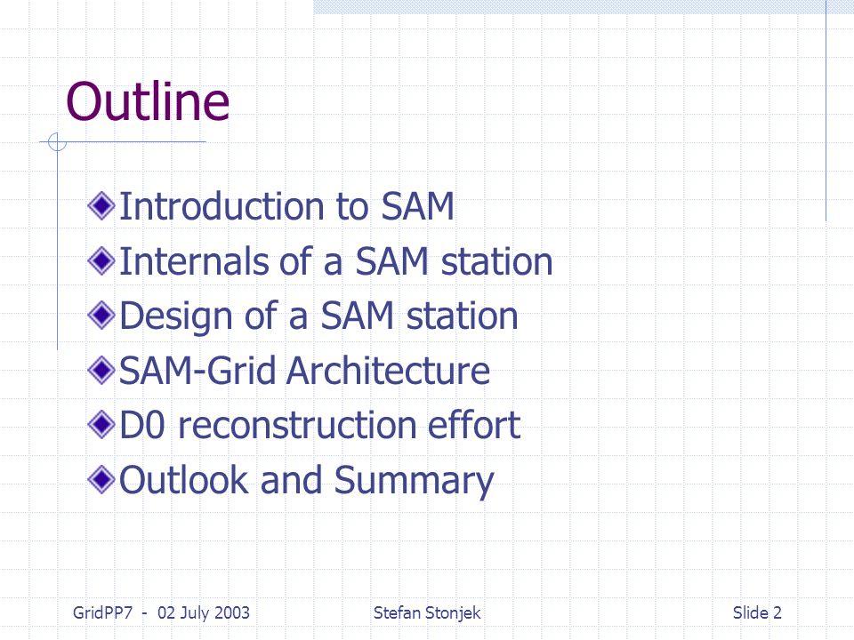 GridPP7 - 02 July 2003Stefan StonjekSlide 2 Outline Introduction to SAM Internals of a SAM station Design of a SAM station SAM-Grid Architecture D0 reconstruction effort Outlook and Summary