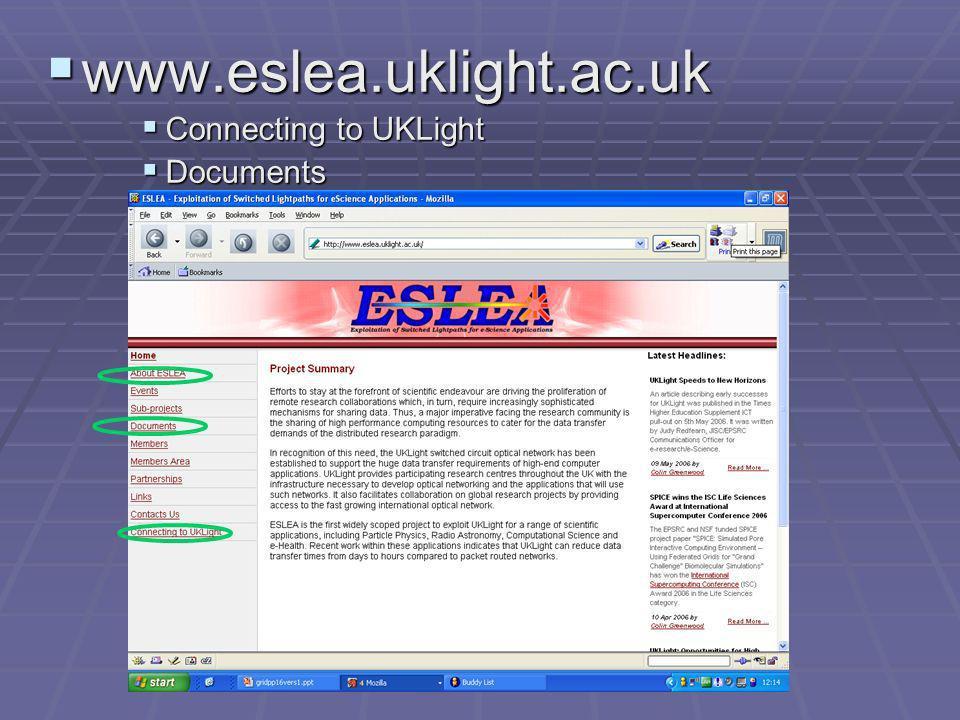 www.eslea.uklight.ac.uk www.eslea.uklight.ac.uk Connecting to UKLight Connecting to UKLight Documents Documents