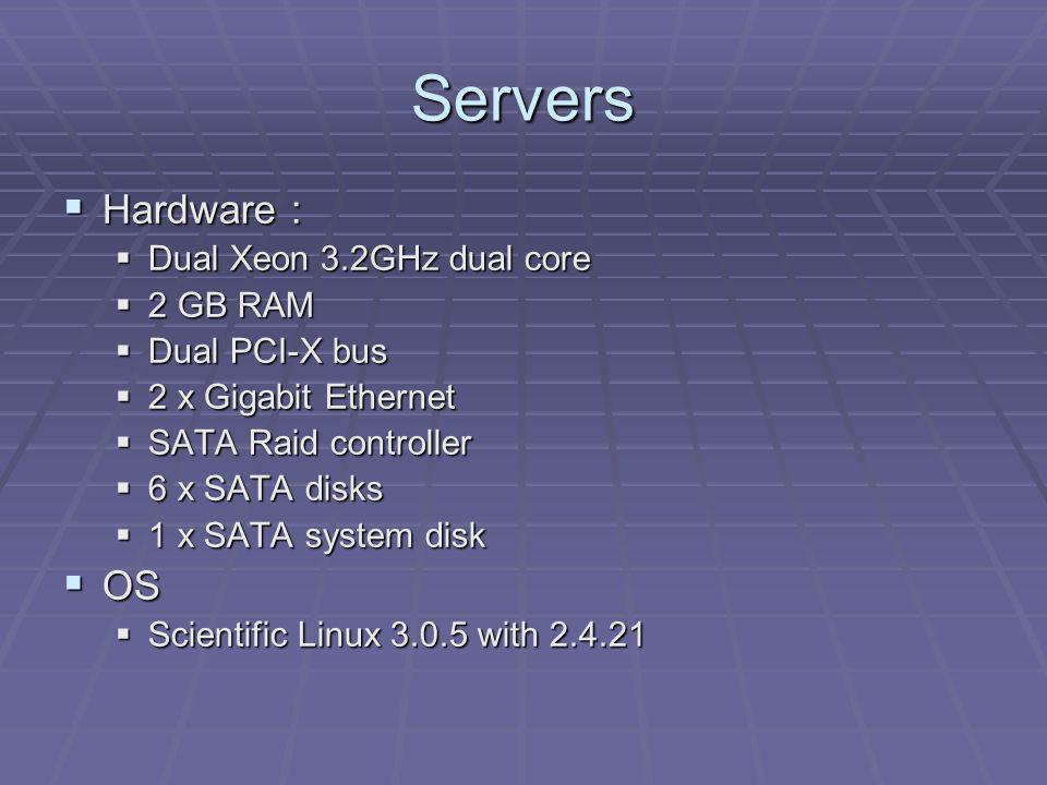 Servers Hardware : Hardware : Dual Xeon 3.2GHz dual core Dual Xeon 3.2GHz dual core 2 GB RAM 2 GB RAM Dual PCI-X bus Dual PCI-X bus 2 x Gigabit Ethern