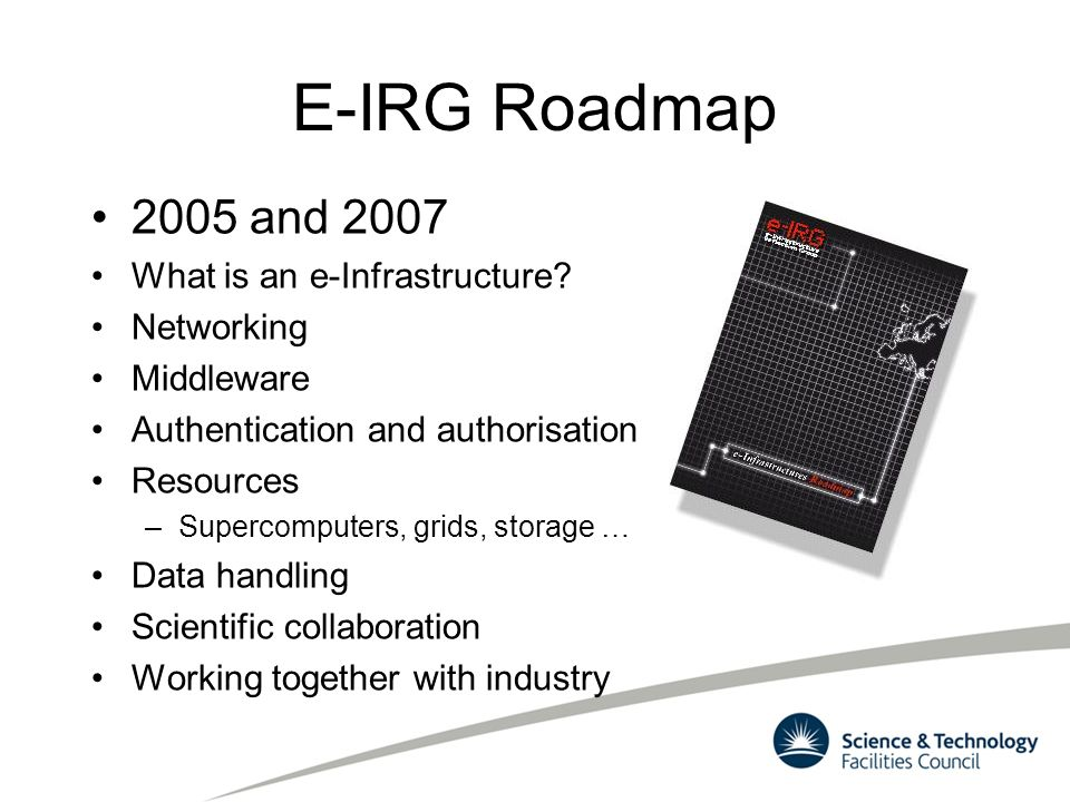 E-IRG Roadmap 2005 and 2007 What is an e-Infrastructure? Networking Middleware Authentication and authorisation Resources –Supercomputers, grids, stor