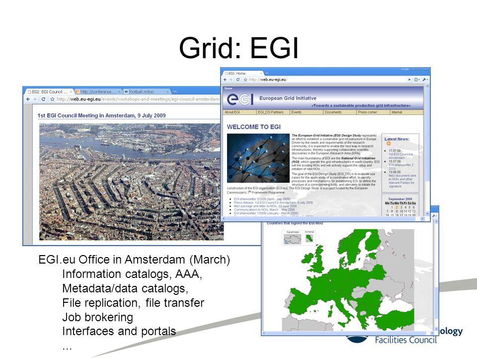 Grid: EGI EGI.eu Office in Amsterdam (March) Information catalogs, AAA, Metadata/data catalogs, File replication, file transfer Job brokering Interfac