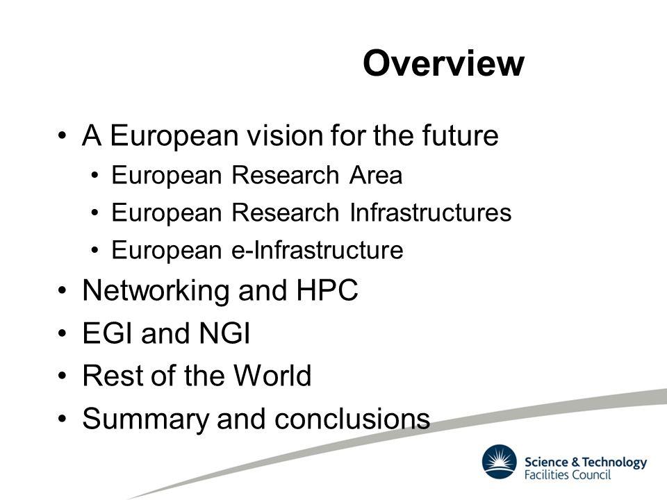 Overview A European vision for the future European Research Area European Research Infrastructures European e-Infrastructure Networking and HPC EGI an