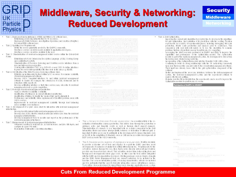Tony Doyle - University of Glasgow Middleware, Security & Networking: Reduced Development Security Middleware Networking Cuts From Reduced Development Programme