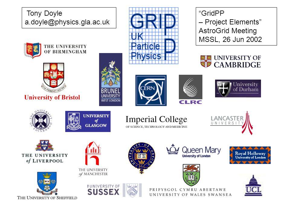Tony Doyle a.doyle@physics.gla.ac.uk GridPP – Project Elements AstroGrid Meeting MSSL, 26 Jun 2002