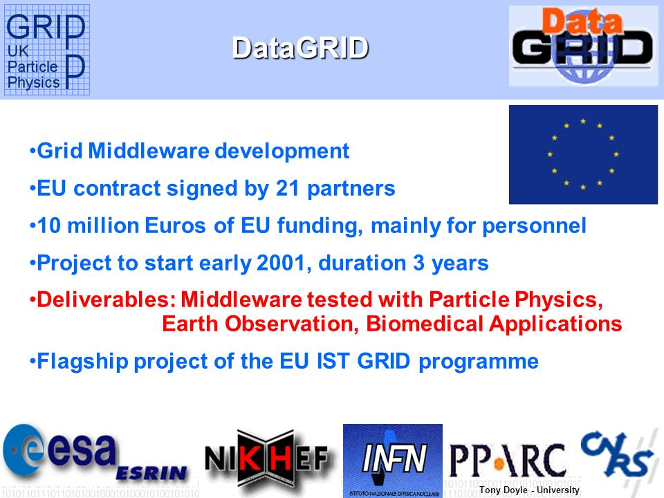 Tony Doyle - University of Glasgow Grid Middleware development EU contract signed by 21 partners 10 million Euros of EU funding, mainly for personnel Project to start early 2001, duration 3 years Deliverables: Middleware tested with Particle Physics, Earth Observation, Biomedical Applications Flagship project of the EU IST GRID programmeDataGRID