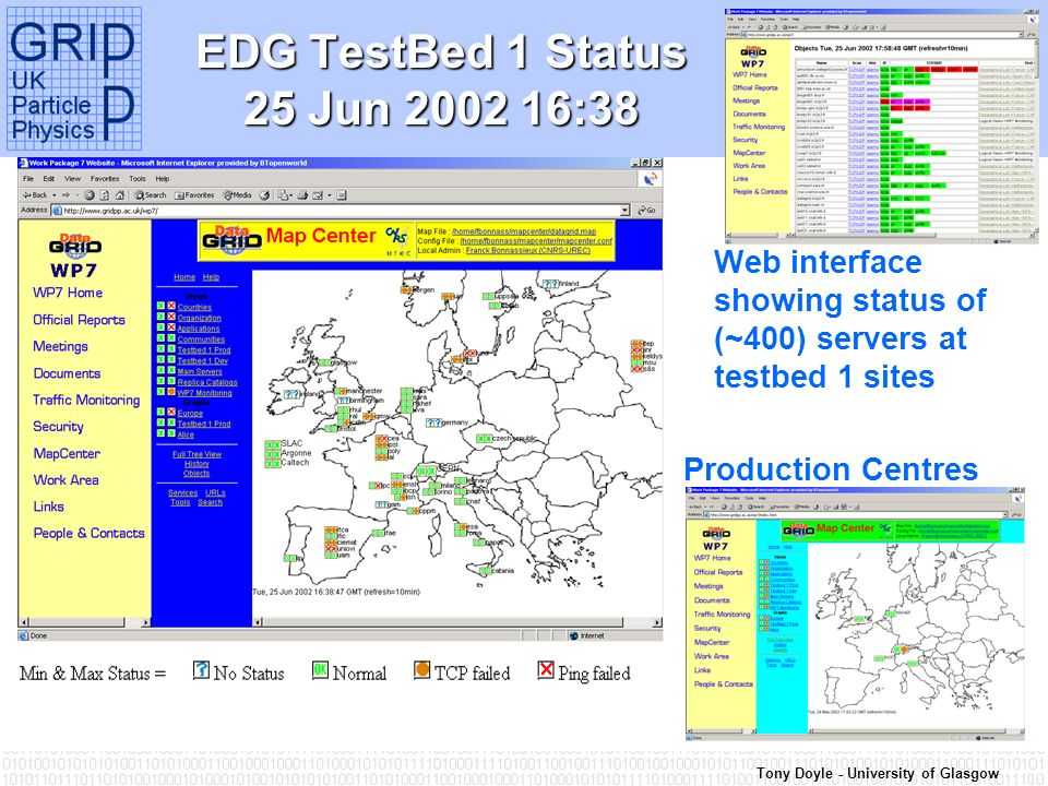Tony Doyle - University of Glasgow EDG TestBed 1 Status 25 Jun 2002 16:38 Web interface showing status of (~400) servers at testbed 1 sites Production