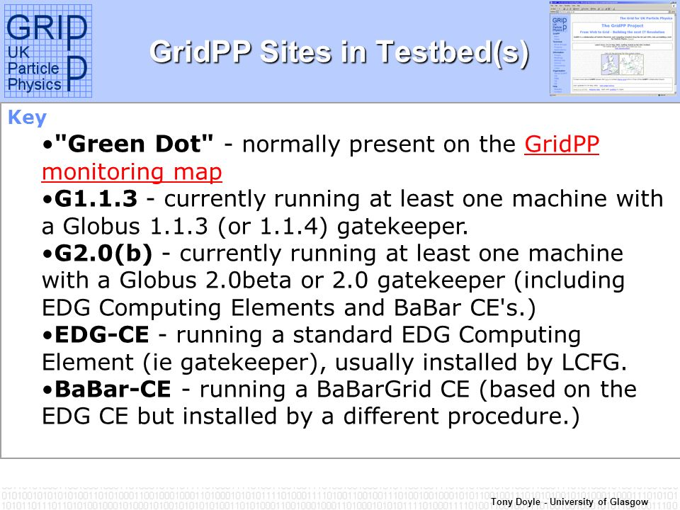Tony Doyle - University of Glasgow GridPP Sites in Testbed(s) Key