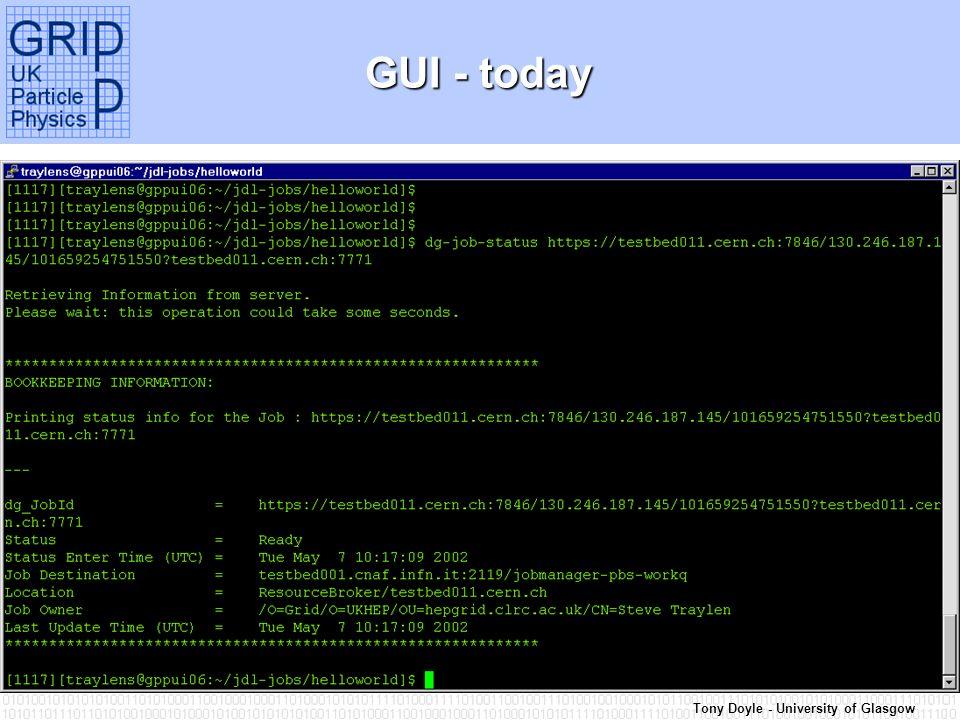 Tony Doyle - University of Glasgow GUI - today