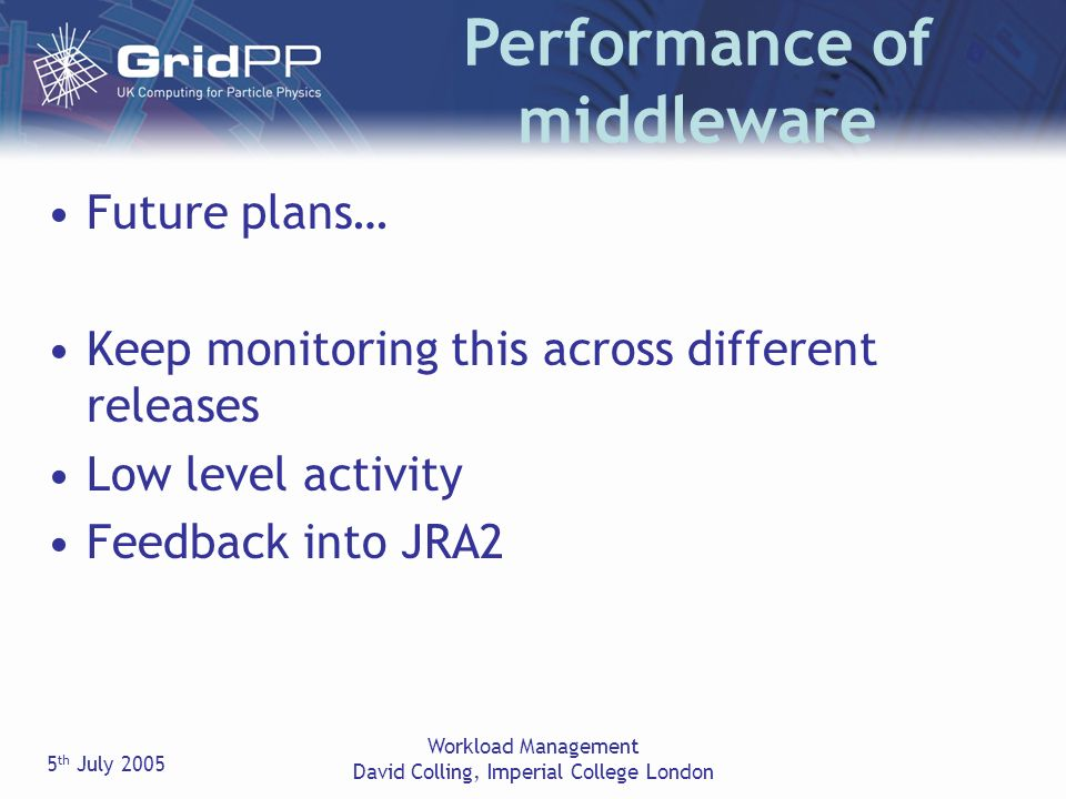 5 th July 2005 Workload Management David Colling, Imperial College London Future plans… Keep monitoring this across different releases Low level activity Feedback into JRA2 Performance of middleware