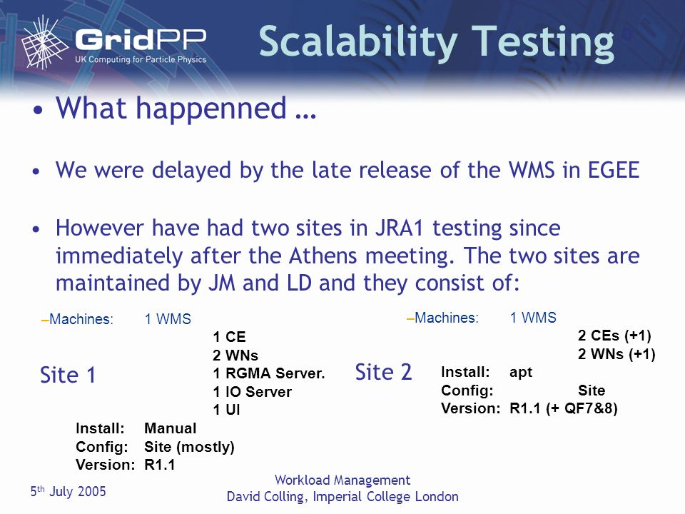 5 th July 2005 Workload Management David Colling, Imperial College London Scalability Testing What happenned … We were delayed by the late release of the WMS in EGEE However have had two sites in JRA1 testing since immediately after the Athens meeting.