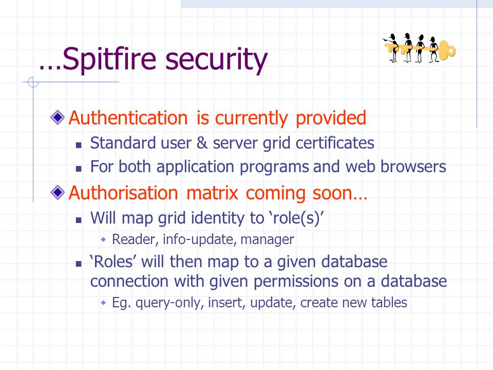 …Spitfire security Authentication is currently provided Standard user & server grid certificates For both application programs and web browsers Authorisation matrix coming soon… Will map grid identity to role(s) Reader, info-update, manager Roles will then map to a given database connection with given permissions on a database Eg.