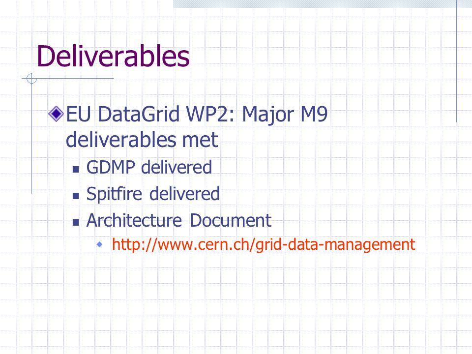 Deliverables EU DataGrid WP2: Major M9 deliverables met GDMP delivered Spitfire delivered Architecture Document http://www.cern.ch/grid-data-management
