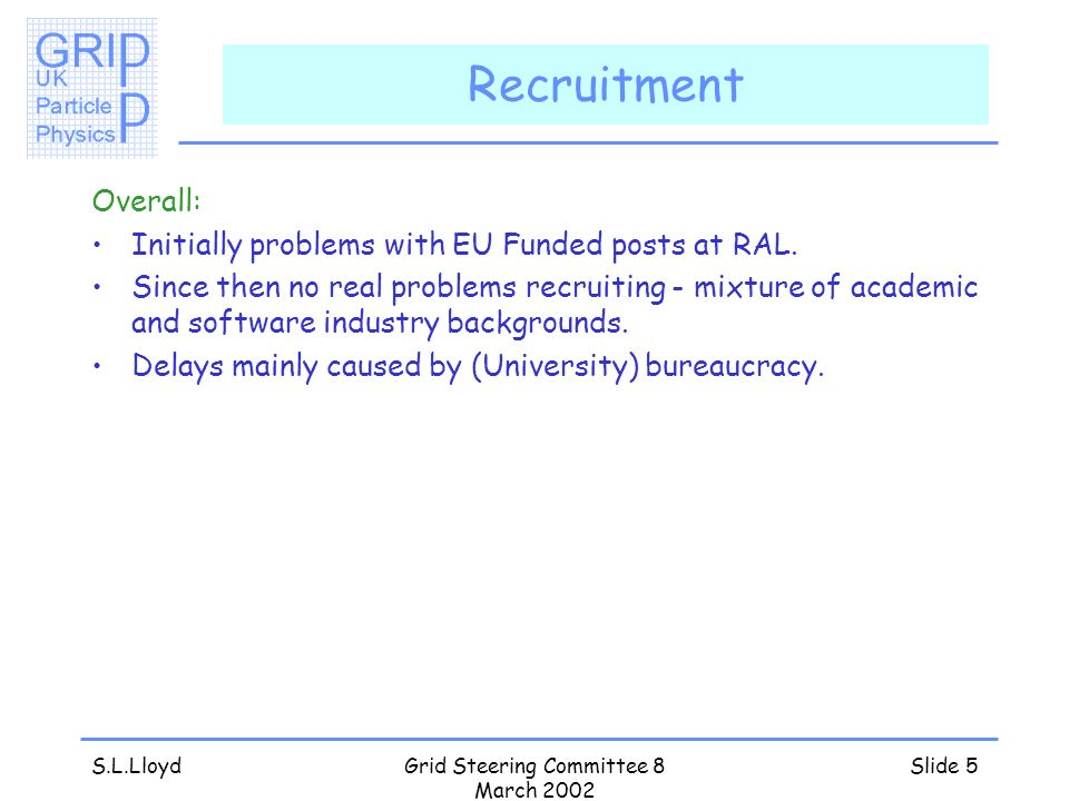 S.L.LloydGrid Steering Committee 8 March 2002 Slide 5 Recruitment Overall: Initially problems with EU Funded posts at RAL. Since then no real problems