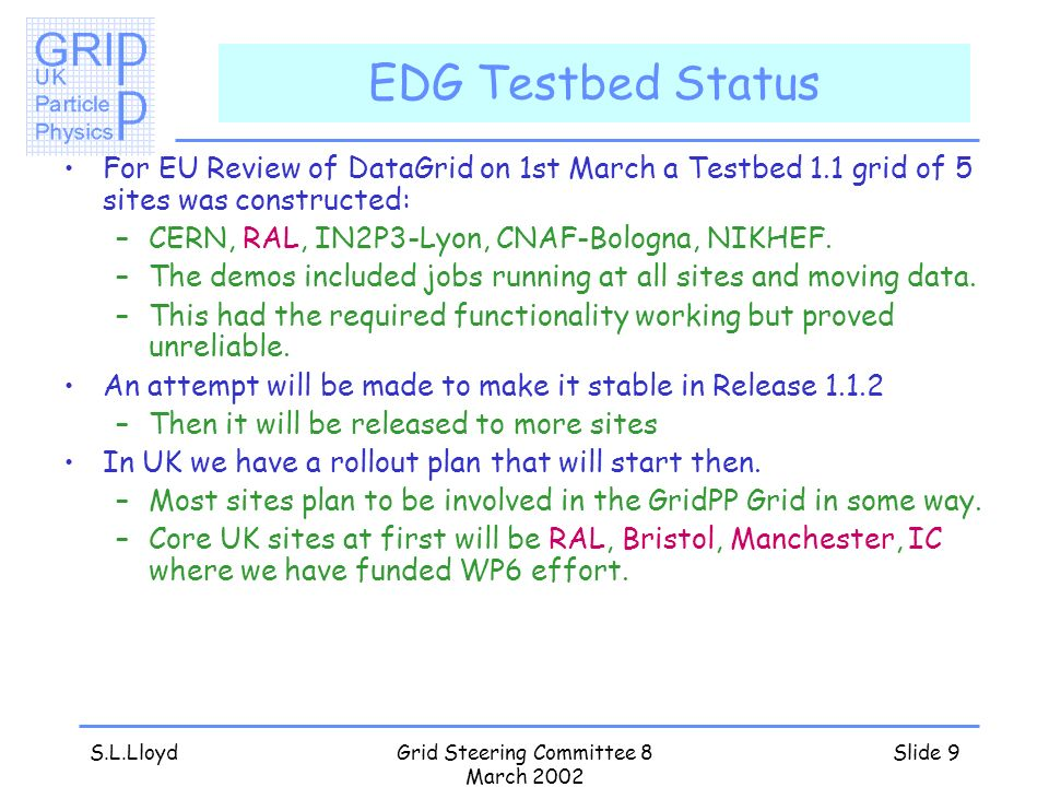 S.L.LloydGrid Steering Committee 8 March 2002 Slide 9 EDG Testbed Status For EU Review of DataGrid on 1st March a Testbed 1.1 grid of 5 sites was constructed: –CERN, RAL, IN2P3-Lyon, CNAF-Bologna, NIKHEF.