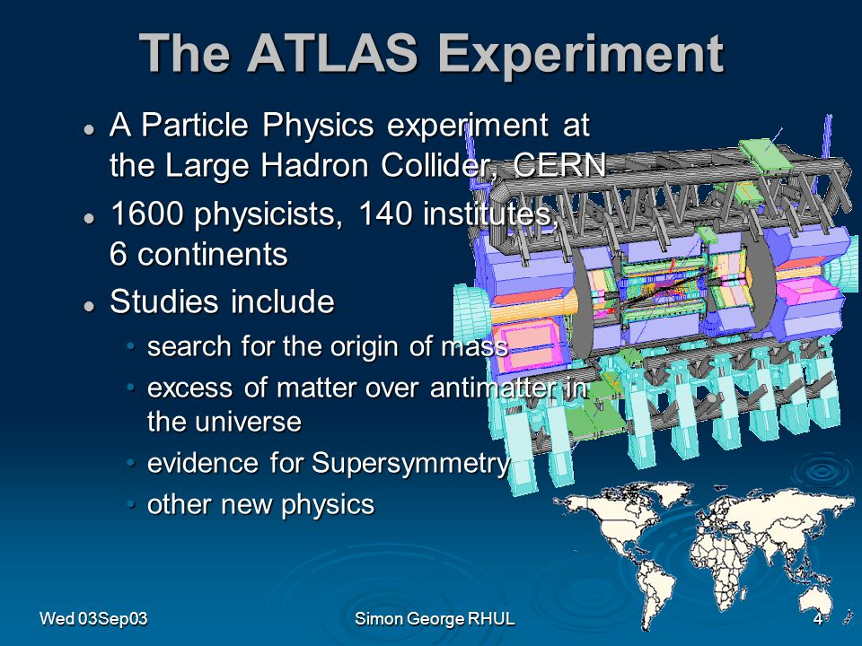 Wed 03Sep03Simon George RHUL4 The ATLAS Experiment A Particle Physics experiment at the Large Hadron Collider, CERN A Particle Physics experiment at the Large Hadron Collider, CERN 1600 physicists, 140 institutes, 6 continents 1600 physicists, 140 institutes, 6 continents Studies include Studies include search for the origin of masssearch for the origin of mass excess of matter over antimatter in the universeexcess of matter over antimatter in the universe evidence for Supersymmetryevidence for Supersymmetry other new physicsother new physics