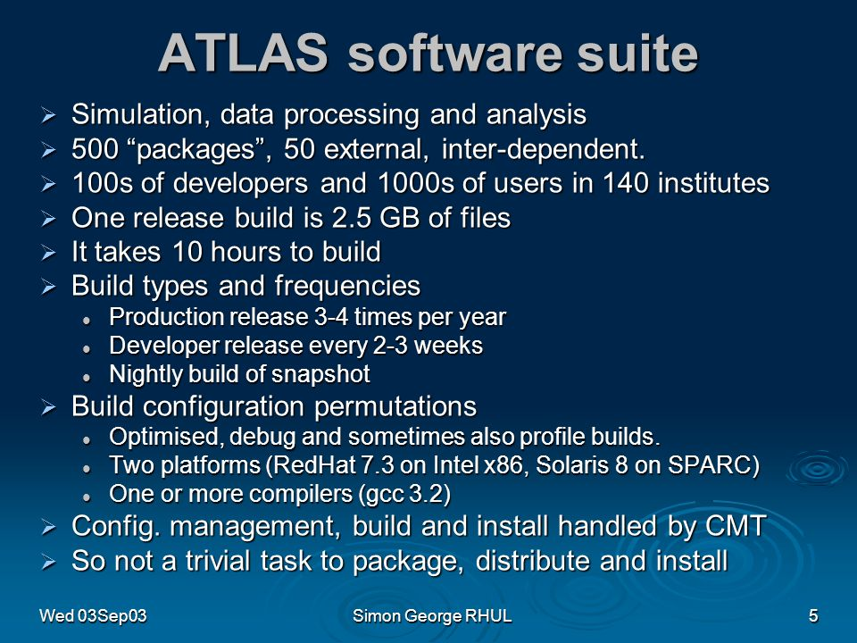 Wed 03Sep03Simon George RHUL5 ATLAS software suite Simulation, data processing and analysis Simulation, data processing and analysis 500 packages, 50 external, inter-dependent.